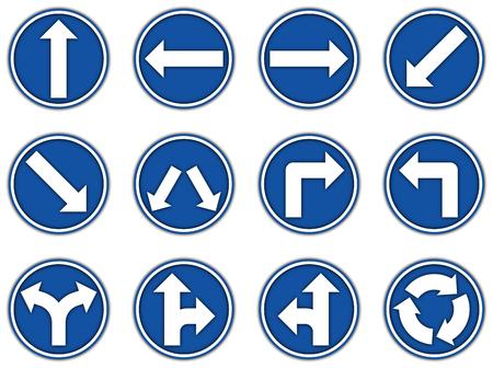 Groupe de collection d'icône de panneaux réglementaires bleus pour le style de papier découpé sur fond blanc