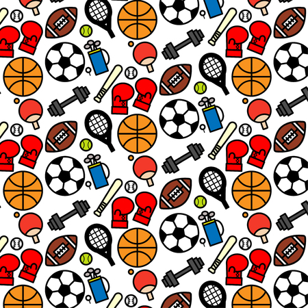 Colorful pattern background of variety sport icon on white background Vectores