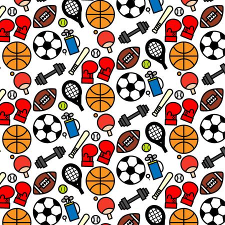 Colorful pattern background of variety sport icon on white background Ilustracja