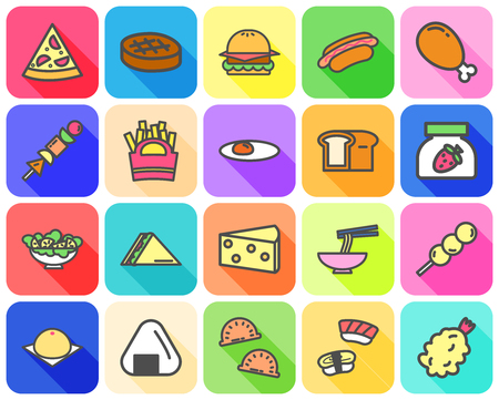 Colorful of variety food icon with flat icon and long shadow concept on white background