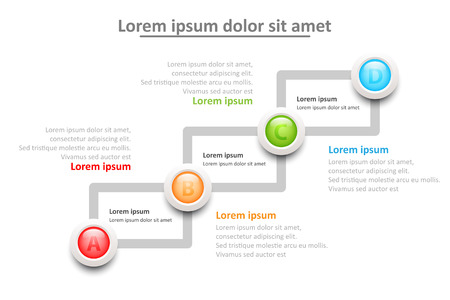 Four topics 3D colorful marble circle on sequence for website presentation cover poster vector design infographic illustration concept Foto de archivo - 127041246