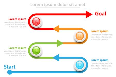 Four topics 3D colorful marble circle on timeline for website presentation cover poster vector design infographic illustration concept Foto de archivo - 127041248