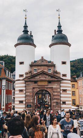 HEIDELBERG, GERMANY - OCTOBER 12 Karl Theodor Bridge on October 12, 2019. The Karl Theodor Bridge is an arch bridge in Heidelberg that crosses the Neckar river. Bridge made of Neckar sandstone and the ninth built on the site.