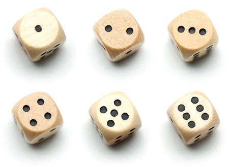 Dice showing 1, 2, 3, 4, 5, and 6 dots isolated on white. Stock Photo