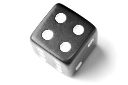 exists: Black Die on White - Four at top. Similar images of 1-6 exists Stock Photo