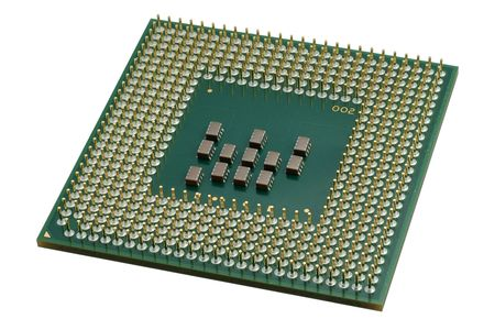 Close up of a CPU processor isolated on white. Large depth of field. photo