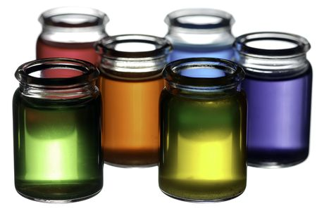Group of glasses filled with colorful liquid isolated on white Stock Photo - 6336633