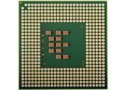 Close up of a CPU processor isolated on white. photo