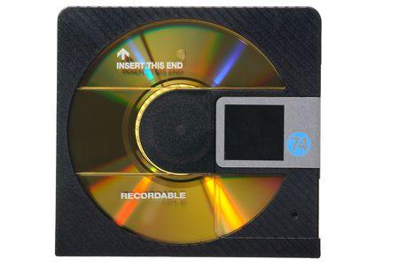 md:  Black minidisc (MD) isolated on white background Stock Photo