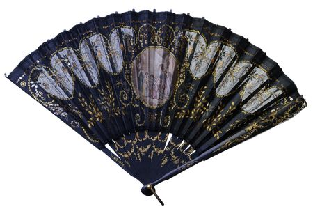 chinese fan: A beautiful antique fan on white background