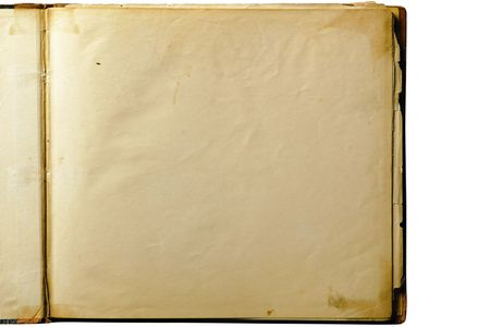 old diary: Open old blank book page isolated on white