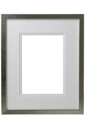 Silver frame with passepartout isolated on white background.  photo