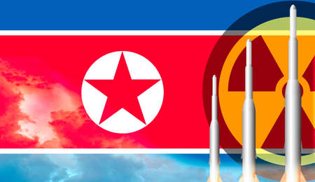 North Korea Missile weapons ready to launch. Flag of North Korea. Stock Photo