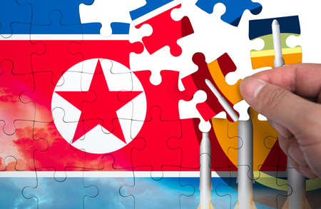 North Korea Missile weapons. Flag of North Korea. puzzle pieces.