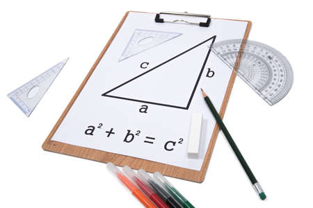 Pythagorean Theorem. Clipboard triangle protractor pencil isolated on the white background. Archivio Fotografico