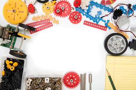 STEM ou DIY science kit definem fundo branco. Foto de archivo