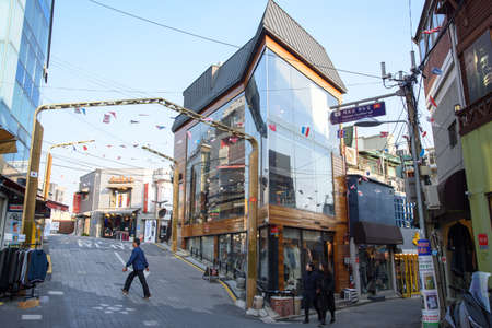 Itaewon In Seoul, SOUTH KOREA - November 26, 2017:Vietnam QuyNhon-gil in Itaewon, Seoul. Itaewon in Seoul is a place where cultures of various countries coexist. Editorial