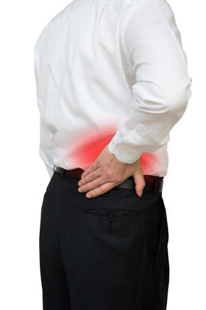 Business man with back pain. Stock Photo