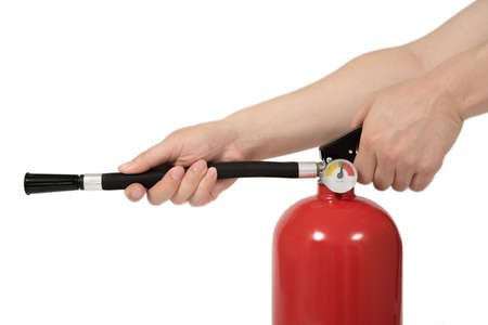 motion hand press the fire extinguisher, isolated Stock Photo