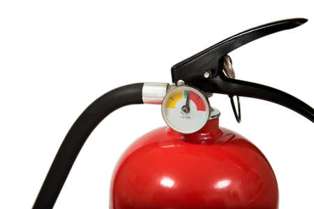 Red Fire Extinguisher With Copy Space Isolated on White Background