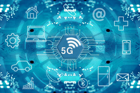 5G network wireless systems and internet of things with abstract connected dots wireless communication network on circuit diagram background. Stock Photo
