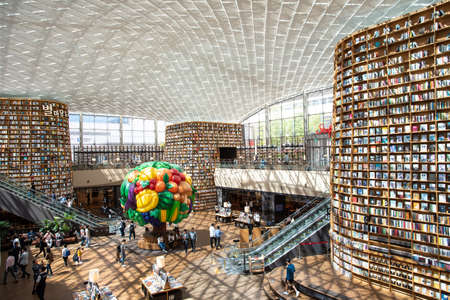 Seoul, South Korea - September, 2018: View of Starfield Library in Starfield COEX Mall. The public library is a popular destination among tourists and citizens of Seoul.