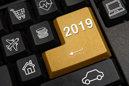 Computer keyboard and 2019 New Years wish concept.