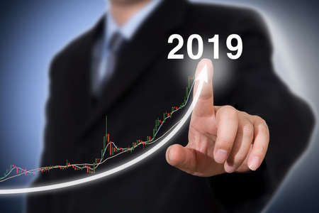Development and growth 2019 concept. Businessman new year concept
