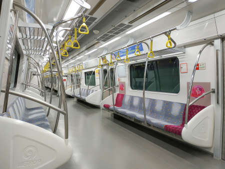 Seoul, South Korea - March 22, 2019: Inside the Train at the Underground Seoul Subway Line 9