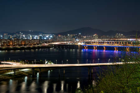 The night view of Seoul. Cars on the road. Traffic at Seoul City,South Korea.