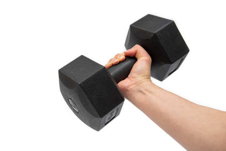 Man hand holding dumbbells on a white background