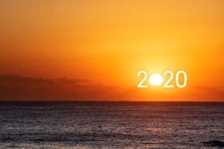 Happy New Year 2020. Beautiful sunrise over the ocean