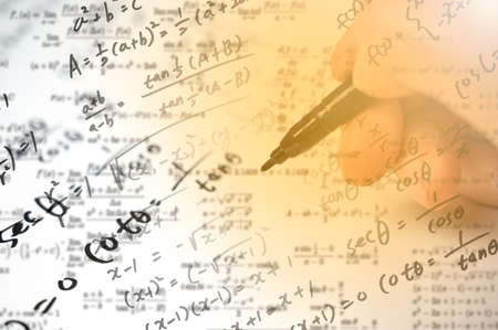 A note full of mathematical formulas. Education concept.