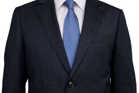 The upper body of a man businessman in a suit on a white background.