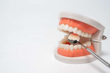 Dental tools on white background. Medical technology concept. Dental hygiene. Cure concept. Dentist tools. Dental equipment. Zdjęcie Seryjne