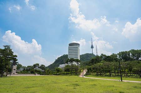 Seoul, South Korea, July 2020: Panoramic view of Namsan Park and N Seoul Tower in Namsan.
