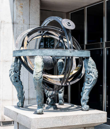 Armillary sphere in Seoul, South Korea - July 2020 : Armillary Sphere(Honcheonui) model is located in Namsan Park.