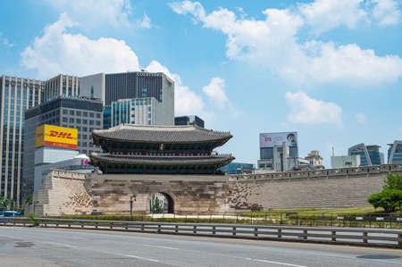 Seoul, South Korea, July 2020: The official name of Namdaemun Gate in Seoul is Sungnyemun, and it is one of the gates of Seoul that was built during the Joseon Dynasty. Publikacyjne