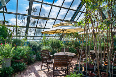 A view of the conservatory with bright sunlight and chairs.