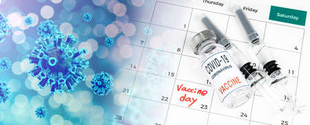 A calendar with vaccination dates, a Covid-19 vaccine, and a medical concept with a syringe.