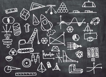 Blackboard with hand-drawn math-related icons. Education concept.