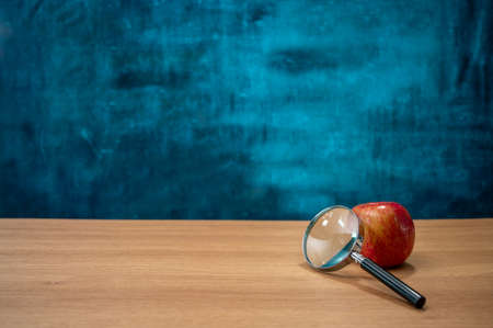 Apples and magnifying glass on the desk. Empty blackboard. Education concept. Фото со стока