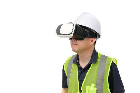 Man wearing virtual reality goggles. Studio shot, white background. Foto de archivo