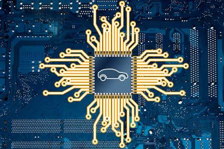 An illustration representing a computer circuit board and a car chip. Foto de archivo - 167749688