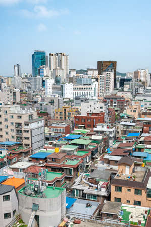 Cityscape of Seoul, Korea with houses and buildings