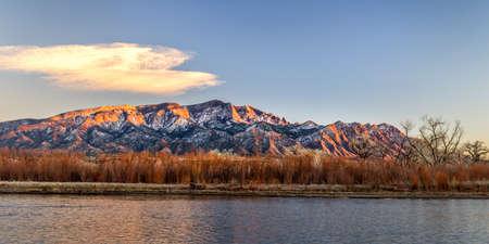 Landscape of Rio Grande River and Mountain in New Mexico Stock Photo