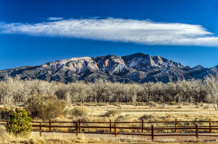 Landscape of a fence and Mountain in New Mexico
