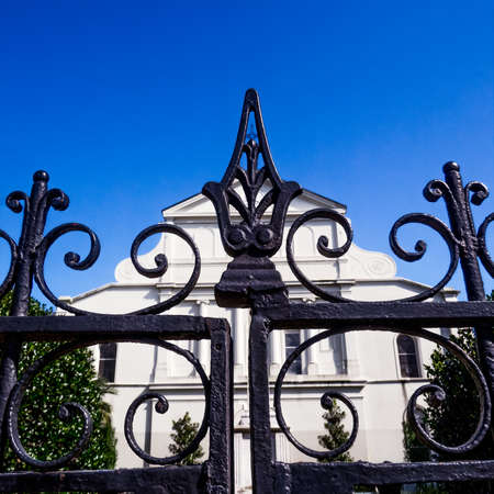 New Orleans, LA USA - Sep 12, 2016  -  This is the iron fence behind St. Louis Catedral that surrounds a gardens of the church. Editorial
