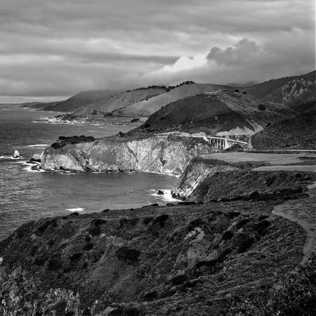big sur: Highway 1 in Big Sur in Black and White Stock Photo