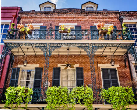 New Orleans, LA, USA -  Sep. 12, 2016  -  2 Balconies with 7 Planters French Quarter